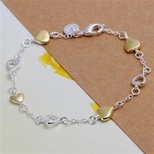 Браслет сердечки Tiffany (TF-H205). Покрытие серебром 925