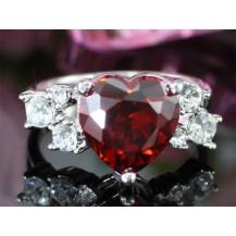 Кольцо Dark Red Heart Ring use Swarovski Crystal SR087