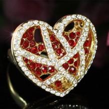 Кольцо Heart Gold Red Ring use Swarovski Crystal SR108