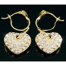 Серьги Heart Gold Plated Earrings use Swarovski Crystal SE261
