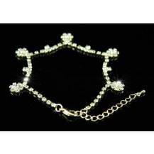 Браслет Bridal Wedding Flower Crystal Gold Bracelet SSB033