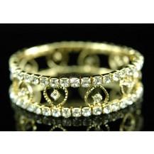 Браслет Hearts Bridal Wedding Stretch Crystal Gold Bracelet SSB008