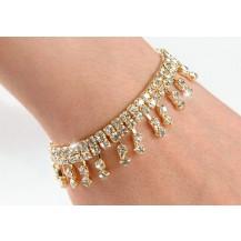 Браслет Stretch Bridal Wedding Crystal Gold Dangling Bracelet SSB005