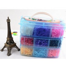 Резиночки для плетения браслетов Rainbow loom Чемоданчик 3 уровня (6000шт, станок, крючки, замки, подвески)