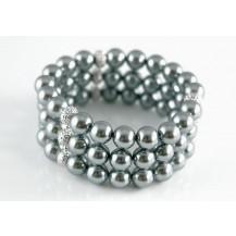 Браслет 3 Row Black Gray Shell Pearls Bridal Prom Bracelet SSB037