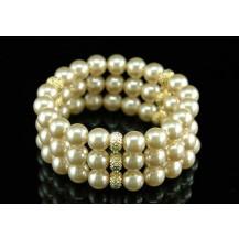 Браслет Bridal Wedding 3 Rows Ivory Cream Shell Pearl Bracelet SSB038