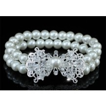 Браслет Bridal White Faux Pearl Bow Bracelet SSB061