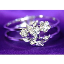 Браслет Flower Clear Austrian Crystal Cuff Bangle Bracelet SSB019