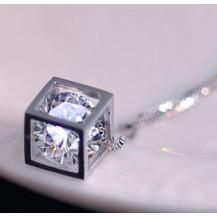 Кулон Куб Tiffany с цирконом покрытие серебром 925 (TF-A048)