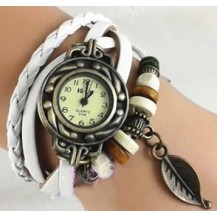 Часы-браслет с подвеской листик Белые
