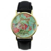 Часы Женева Цветы Мята черный ремешок