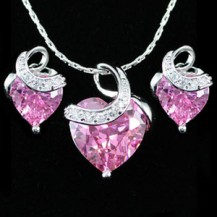 Набор 9 Carat Pink Heart Sapphire 18K Necklace Earrings Set SN245