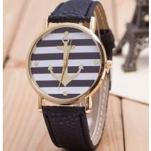 Часы Женева Geneva Якорь черный ремешок