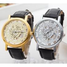 Часы мужские Скелетон серебристые с черным ремешком