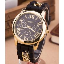 Часы Женева с силиконовым ремешком и цепочкой Черные