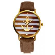 Часы Женева Geneva Якорь коричневый ремешок