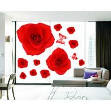 Интерьерная наклейка на стену Красные Розы (AY888)