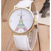 Часы Женева Geneva Эйфелева башня цветная белый ремешок
