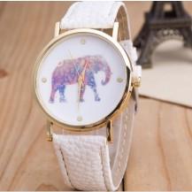 Часы Женева Geneva Слон белый ремешок