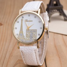 Часы Женева Geneva Эйфелева башня белый ремешок
