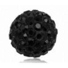 Бусина Шамбала с кристаллами 10мм. черная