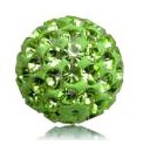 Бусина Шамбала с кристаллами 10мм. зеленая (№214)