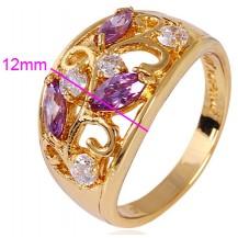 Кольцо позолота Gold Filled с разноцветными цирконами (GF464) Размер 17
