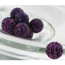 Бусина Шамбала с кристаллами 10мм. темно-фиолетовая (№204)