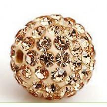 Бусина Шамбала с кристаллами 10мм. шампань (№362)