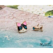 Ассиметричные серьги Кот и рыбка tb1400