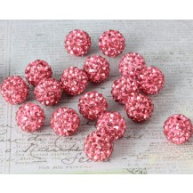 Бусина Шамбала с кристаллами 10мм. темно-розовая (№209)