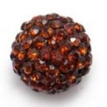 Бусина Шамбала с кристаллами 10мм. коричневая (№220)