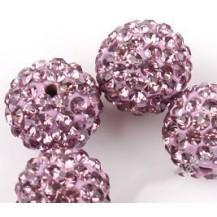 Бусина Шамбала с кристаллами 10мм. cветло-пурпурная (№212)