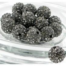 Бусина Шамбала с кристаллами 10мм. дымка (№215)