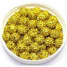 Бусина Шамбала с кристаллами 10мм. желтая (№226)