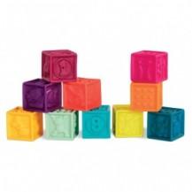 Развивающие силиконовые кубики - ПОСЧИТАЙ-КА! (10 кубиков,  в сумочке, мягкие цвета) от Battat - под заказ