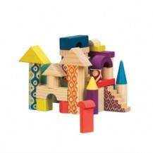Деревянные кубики - ЕЛОВЫЙ ДОМИК (40 деталей, в сумочке) от Battat - под заказ