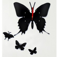 Настенные часы Бабочка, цвет черный