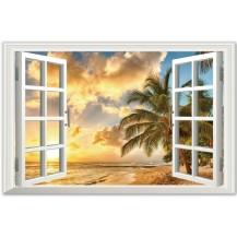 Интерьерная наклейка на стену Окно в тропики XL8022B