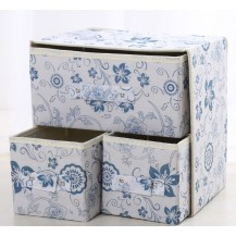 Органайзер для белья и одежды Комодик 3 ящика Белый с узорами