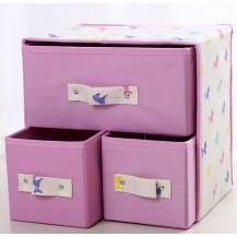 Органайзер для белья и одежды Комодик 3 ящика Розово-Белый