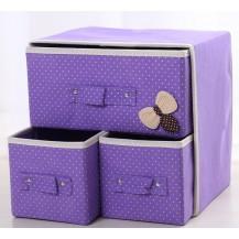 Органайзер для белья и одежды Комодик 3 ящика Сиреневый