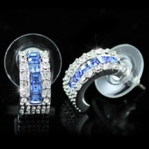 Серьги Blue Sapphire Huggie Earrings use Swarovski Crystal SE229