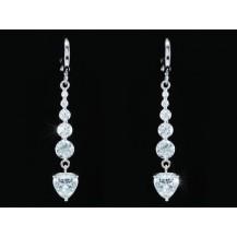 Серьги Dangle 3 Carat Simulated Diamond Heart Earrings SE346