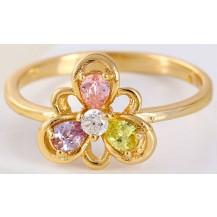 Кольцо позолота Gold Filled с разноцветными цирконами (GF444) Размер 18