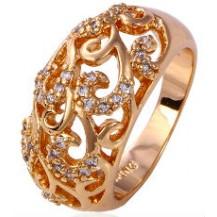Кольцо Узоры позолота Gold Filled с цирконами (GF438) Размер 16