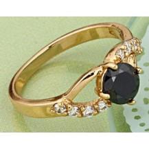 Кольцо позолота Gold Filled с черным цирконом (GF439) Размер 17