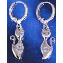 Серьги Кошки с цирконами белая позолота (GF425