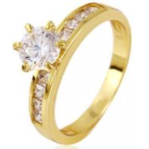 Кольцо позолота Gold Filled с крупными цирконами (GF448) Размер 18