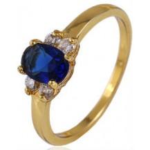 Кольцо позолота Gold Filled с синими цирконами (GF445) Размер 16